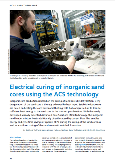 Electical Curing of Inorganic Sand Cores using ACS technology - Casting 09-2020